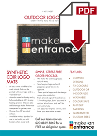 Download our Outdoor Logo Mats Fact Sheet here >>