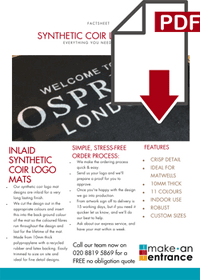 Download our Synthetic Coir Logo Mats Fsct Sheet here >>