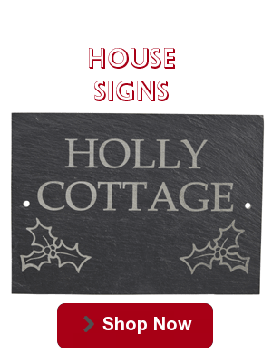 House Signs in Oak and Slate