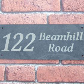 Hand Made House Signs | 2 Row Address Slate: Linux font - Mixed Upper & Lower Case