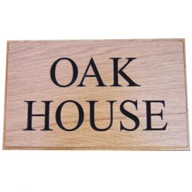 Carved Oak 2 row House Sign with Black Lettering