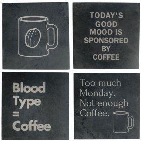Coffee Slogan Coasters - Pick 4 designs