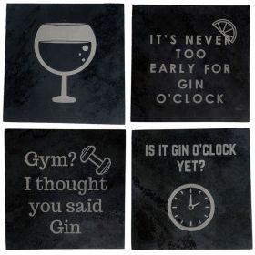 Gin Slogan Slate Coasters - Choose 4 Designs