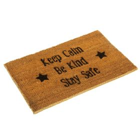 Keep Calm, Be Kind, Stay Safe Doormat - Eco Friendly and Biodegradable Coir