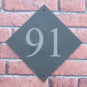 Larger than our regular Slate Number Signs attractively rotated into a diamond shape to add interest.