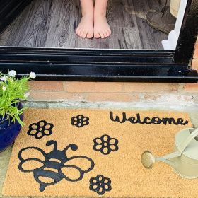 Cat + Butterfly Design - Double Door Mat for Patio Doors (120cm wide) - Printed Motif