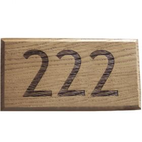 Trebuchet - 3 digit Engraved Oak House Number