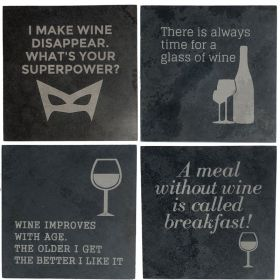 Wine Slogan Coaster Set