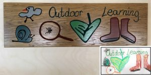 Learning Area Comp - winning custom oak sign