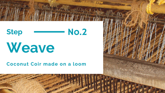 coconut fibre is woven to make matting