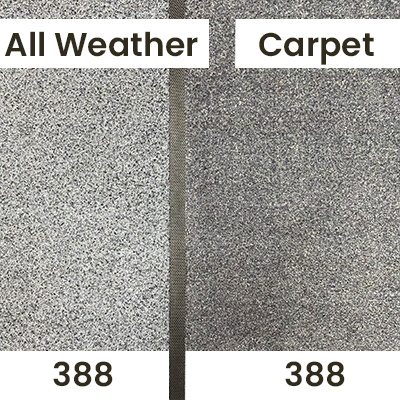 """An indoor lighting comparison of a personalised carpet textile vs all weather doormat in """"Grey 388""""."""