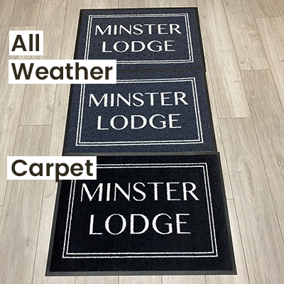 """An indoor lighting comparison of a personalised carpet textile vs all weather doormats (outdoor with holes and indoor without holes), all in """"Black 108""""."""