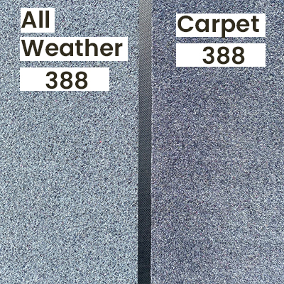"""An outdoor lighting comparison of a personalised carpet textile vs all weather doormat in """"Grey 388""""."""