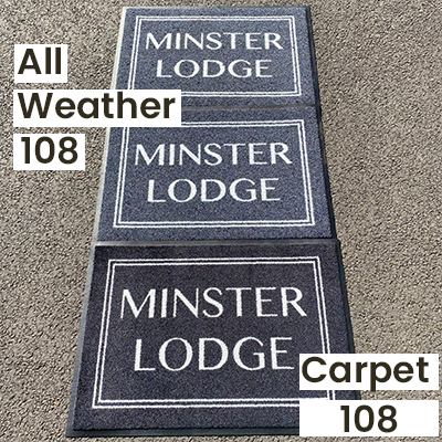 """An outdoor lighting comparison of a personalised carpet textile vs all weather doormats (outdoor with holes and indoor without holes), all in """"Black 108""""."""