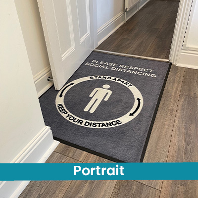 A personalised doormat in a portrait orientation. This is where the width (left to right) is the shortest measurement, and the length (top to bottom) is longer. Length and Width.