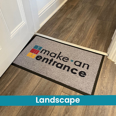 A personalised doormat in a landscape orientation. This is where the width (left to right) is the longest measurement, and the length (top to bottom) is shorter. Length and Width.