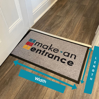 A personalised doormat highlighting the difference between length (top to bottom) and width (left to right).